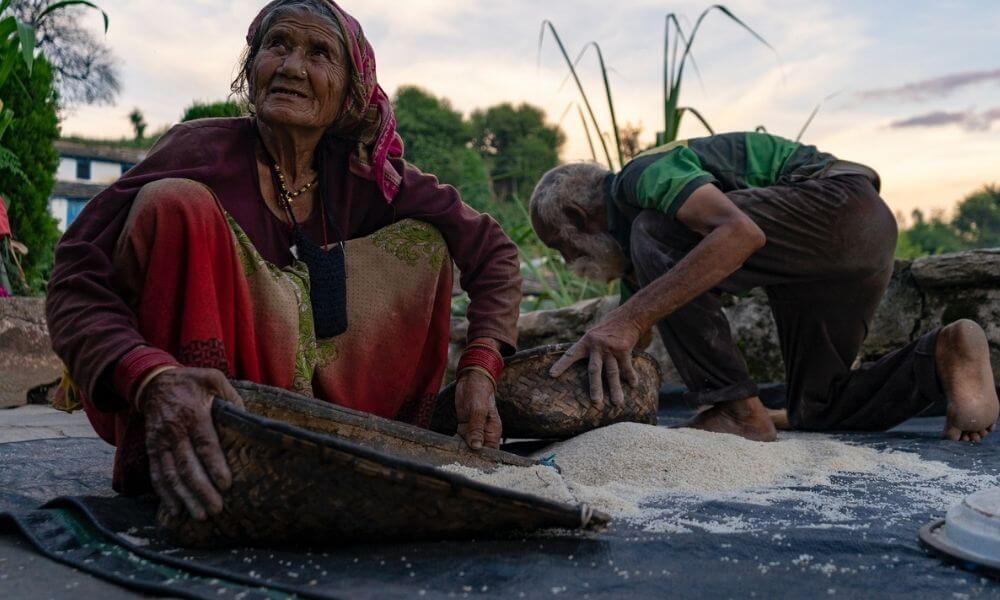 Munka, föld, jól megélt élet, koncentrálás, flow, célok elérése. Öreg nő és férfi dolgozik.